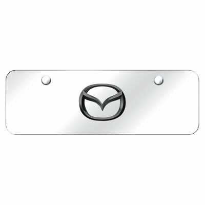 Mazda Front License Plate Frame Black Pearl Logo on Mirror Stainless Steel