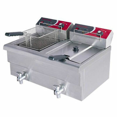 Benchtop Deep Fryer, Cold Zone, Twin Vat 2x 7.5L, 10 AMP Commercial Quality