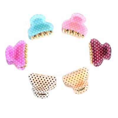 6PCS Womens Polka Dot Print Small Size Acrylic Hair Clips Claws HC040 Best Deal