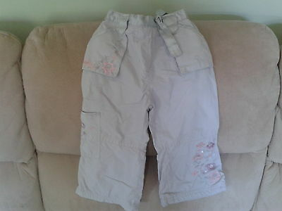 Baby Girls 18-24 Months - Silver Coloured Trousers with Floral Embroidery