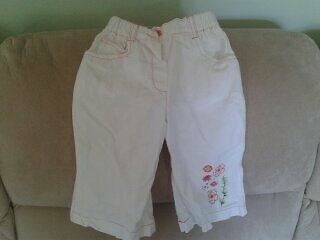 Baby Girls 12-18 months - White Summer Trousers, Floral Embroidery - Dizzy Daisy