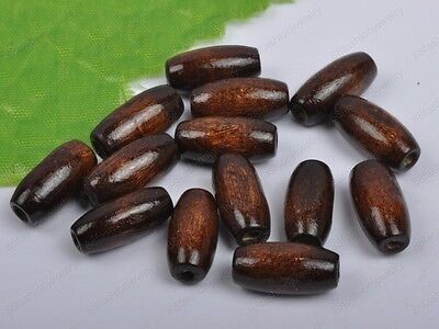 100pcs 15X7MM coffee Wood oval loose beads DIY FINDINGS