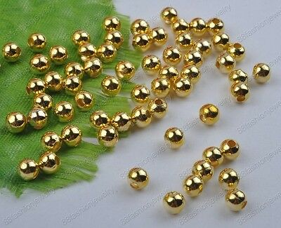 gold Plated Round Ball Spacer Beads 2MM 3MM 4MM 5MM 6MM DIY Findings FREE SHIP