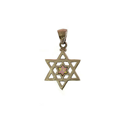 Sterling Silver 925 opal Star of David pendant, MADE IN ITALY