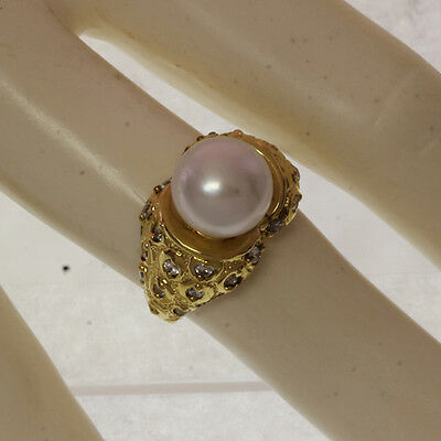 Sterling Silver 925 GP CZ white pearl ring