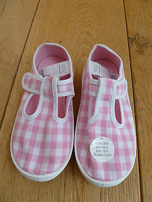 Marks And Spencers Pretty Pink Gingham Summer Shoes Plimsoles Pumps 8 9 Years
