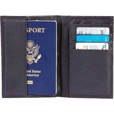 Black Genuine Leather Passport Cover, Travel ID Card Wallet Protect Case