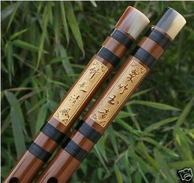 Exquisite Bitter Bamboo Flute Chinese Dizi Instrument 2 Sections W/ Accessories