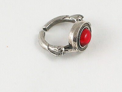 Roman style Dolphin Pewter ring with Red gem.