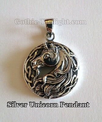 Sterling Silver Unicorn Pendant by Lisa Parker with Celtic design Pagan Wicca