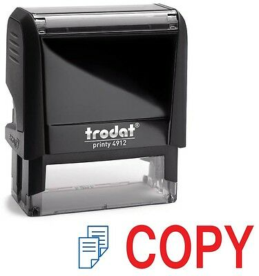 Trodat 2-Color Self-inking Stock Rubber Stamp - COPY - Red/Blue Ink