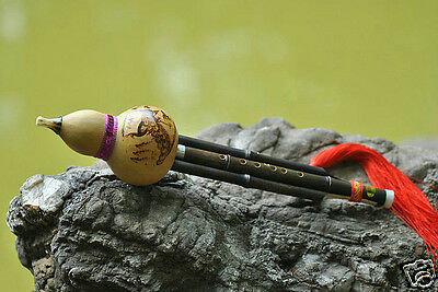 Performance Level Chinese Free Reed Gourd&Bamboo Flute Yunnan Hulusi Instrument
