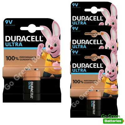 4 x Duracell 9V PP3 Ultra Power Alkaline Batteries (LR22, MN1604, 6LR61, MX1604)