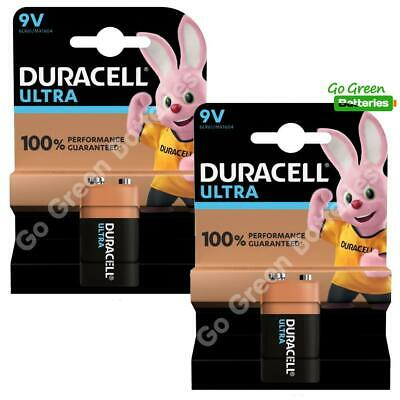 2 x Duracell 9V PP3 Ultra Power Alkaline Batteries (LR22, MN1604, 6LR61, MX1604)