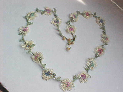 """Tatted Necklace 16 Tatted Flowers Vine Leafs Beads 26"""" Tatting by Dove Country"""
