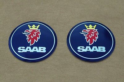 """Set of 2 SAAB Alloy Emblem Badge 2.25"""" for Hood & Trunk Decal, Well Made, Mint!!"""