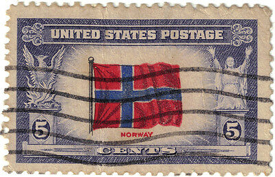 (USA239) 1943 5c flag of Norway ow908