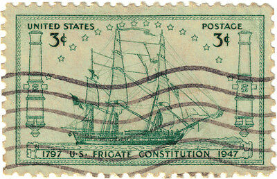 (USA276) 1947 3c green USS constitution Frigate ow949