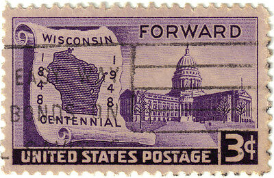 (USA283) 1948 3c violet state capitol Madison ow954