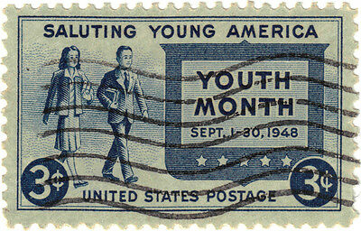 (USA288) 1948 3c blue salute to youth ow960