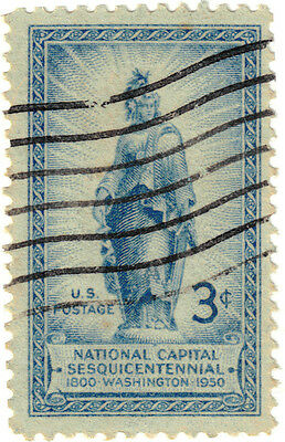 (USA314) 1950 3c blue statue of freedom ow986