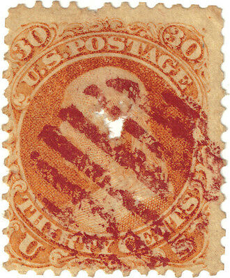 (USA343) 1861 30c orange Franklin has been spiked ow67
