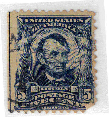 (USA35) 1901 5c blue Lincoln ow310