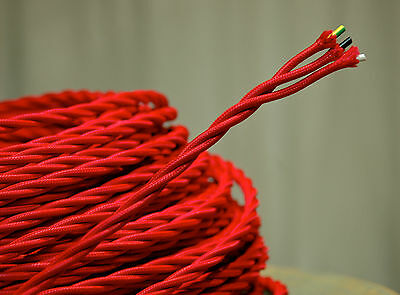 Red Twisted 3-Wire Cloth Covered Cord, 18gauge Vintage Lamp Antique Lights Rayon