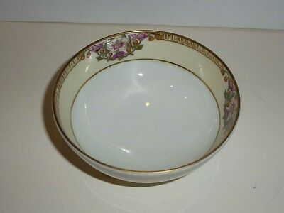 Vintage Nippon 3-footed Small Bowl, Pink Florals, Gold Tone