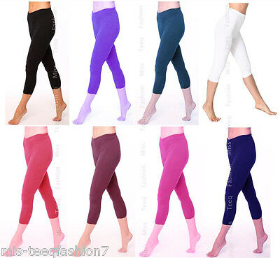 Womens Cropped Cotton Leggings Summer Capri 3/4 Length All Sizes UK 8-28