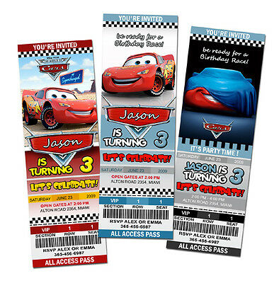 CARS DISNEY MCQUEEN 1 2 BIRTHDAY PARTY INVITATION TICKET Personalized 1ST