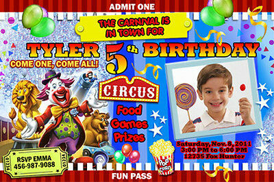 CIRCUS CARNIVAL CLOWN BIRTHDAY PARTY INVITATION PHOTO 1ST - CUSTOM INVITES first