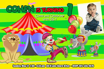 CIRCUS CARNIVAL CLOWN BIRTHDAY PARTY INVITATION 1ST n3 - 6 DESIGNS ELEPHANT