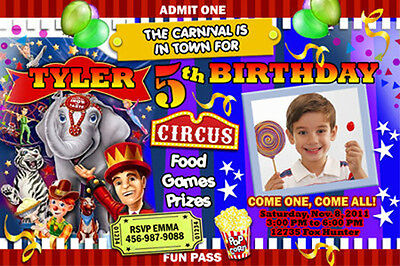 CIRCUS CARNIVAL CLOWN BIRTHDAY PARTY INVITATION PHOTO 1ST - n8 - CUSTOMIZABLE