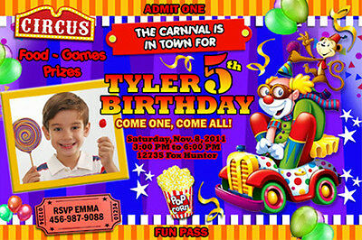 CIRCUS CARNIVAL CLOWN BIRTHDAY PARTY INVITATION PHOTO 1ST - n9 - PERSONALIZED