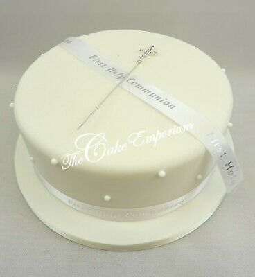 Christening Or Communion Ribbon With Diamante Cross Cake Topper