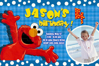 ELMO SESAME STREET BIRTHDAY PARTY INVITATION PHOTO 1ST CUSTOM - INVITES FIRST n2