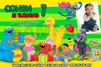 ELMO SESAME STREET BIRTHDAY PARTY INVITATION PHOTO 1ST CUSTOMIZABLE CUSTOM - n1