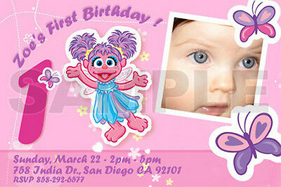 ELMO SESAME STREET BIRTHDAY PARTY INVITATION PHOTO 1ST C9 - abby cadabby custom