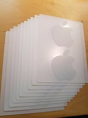 NEW Apple Authentic White Logo Decal Sticker - 3 Sheets, Total 6 Apple Stickers