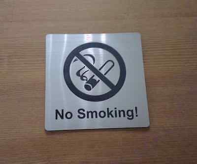 NO SMOKING - ENGRAVED DOOR SIGN - silver/black - NOT STAINLESS