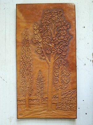 Antique Hand-Engraved Tooled Leather Arts & Crafts 20s Signed Forest Craftsman