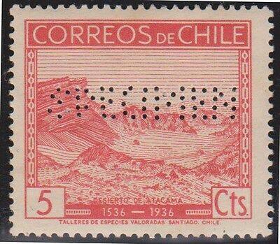 (R7-16)1936 Chile 5c red perforated specimen type ow256