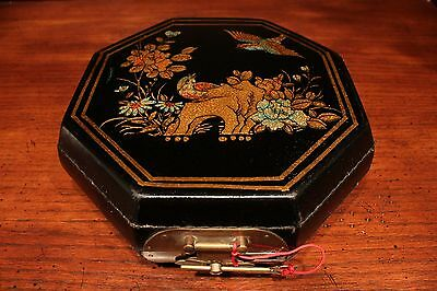 Unique Vintage Octagonal Lacquer Box with Bird and Flower Scene Chinese Text 9""