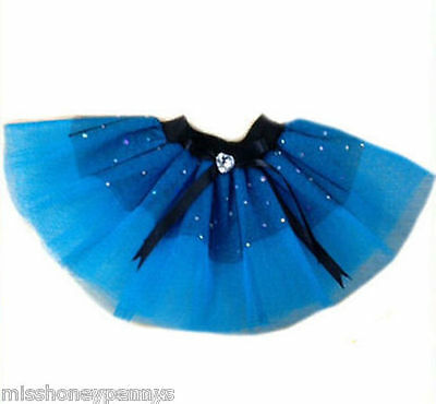 Baby Girl Toddler Neon Tutu Skirt 80s Fancy Dress Party Blue Diamante Sparkle