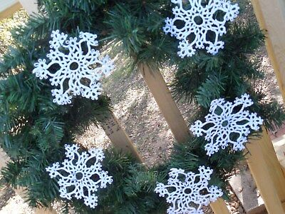 """Tatted Snowflakes White (24) Christmas 4 by 4"""" Holiday Dove Country Tatting"""