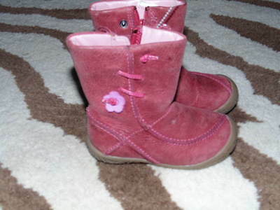 Clarks First Shoes Pink Boots Leather 4.5 Toddler
