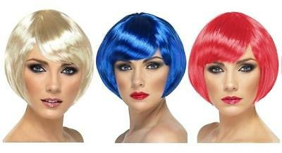 Ladies Short Bob Hair Side Parting Babe Wig Fancy Dress Black Blonde + Colours