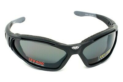 Motorcycle padded antifog sunglasses/Biker wraparound glasses + pouch & postage