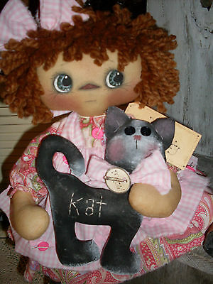 Primitive raggedy ann style doll Here Kitty Kitty PAPER PATTERN #137